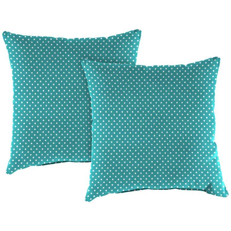"Mini Dots Ocean 18"" Square Outdoor Toss Pillow Set of 2"