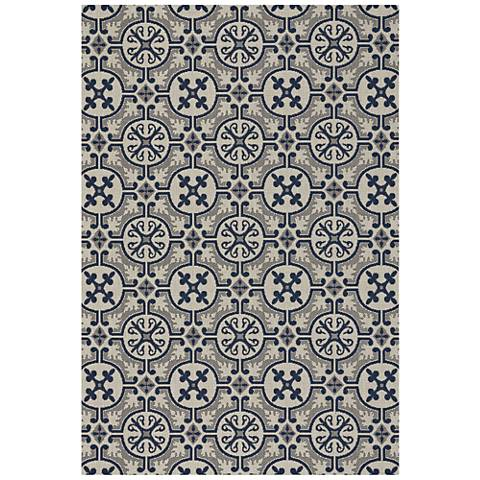 "Elsinore-Tile 4737RS475 3'11""x5'6"" Midnight Blue Area Rug"