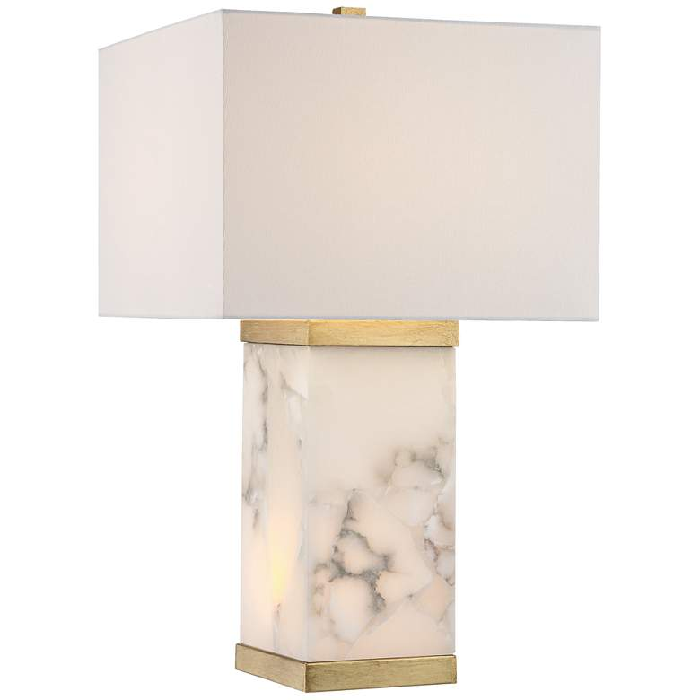 Possini Euro Mindy Alabaster Table Lamp with Night Light