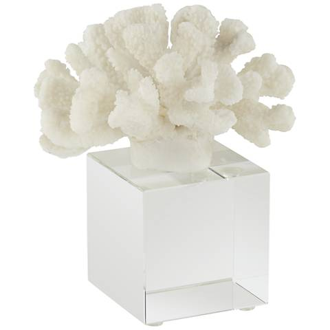 """Seaside Coral Statue 6 1/2"""" High with Crystal Glass Base"""