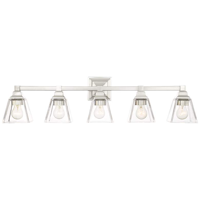 """Mencino 35 1/4"""" Wide Satin Nickel and Clear Glass Bath Light"""