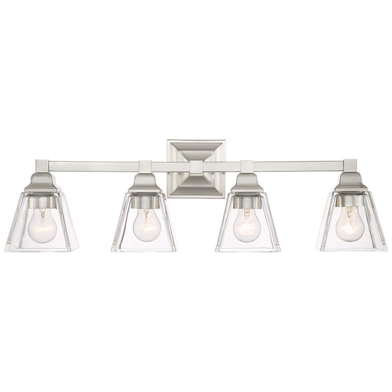"""Mencino 28"""" Wide Satin Nickel and Clear Glass Bath Light"""