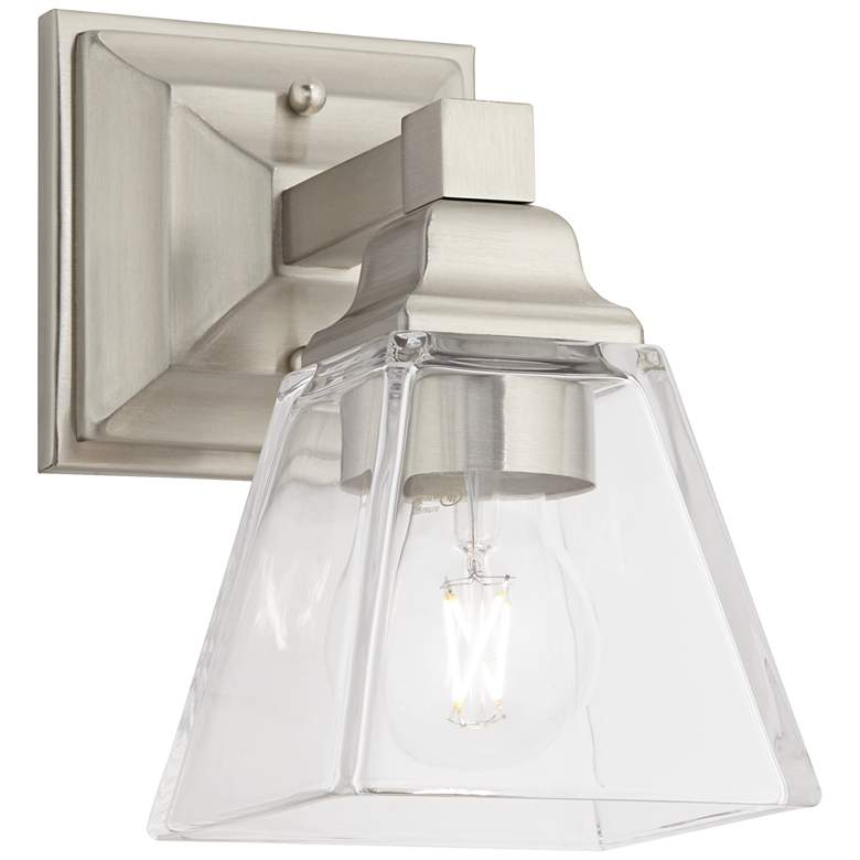 """Mencino 9"""" High Satin Nickel and Clear Glass Wall Sconce"""