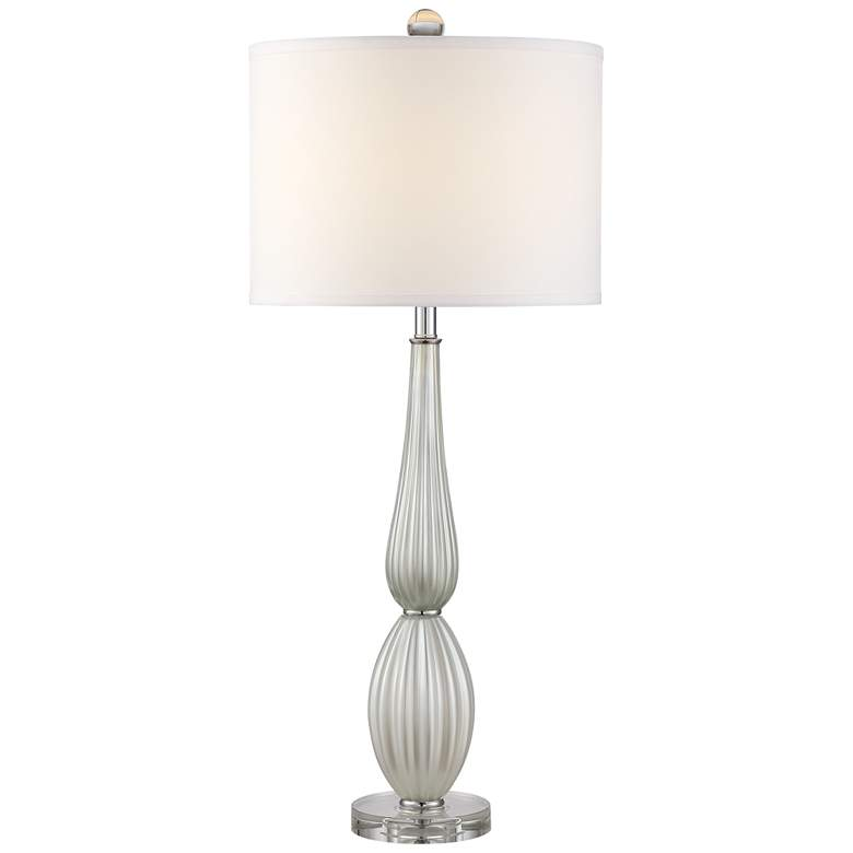 Possini Euro Celest White Glass Table Lamp