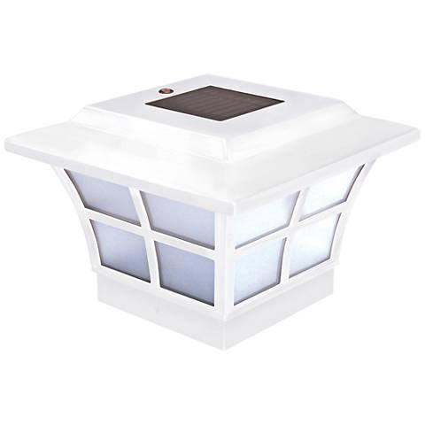 "Prestige 5"" High White Small Outdoor Solar LED Post Cap"