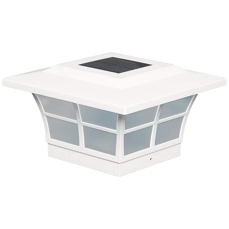 "Prestige 5"" High White Large Outdoor Solar LED Post Cap"