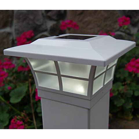 "Prestige 5"" High White Large Outdoor Solar LED Post Cap"