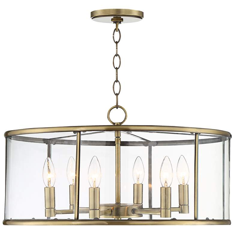 "Westlawn 21 3/4"" Wide Antique Brass 6-Light Pendant"