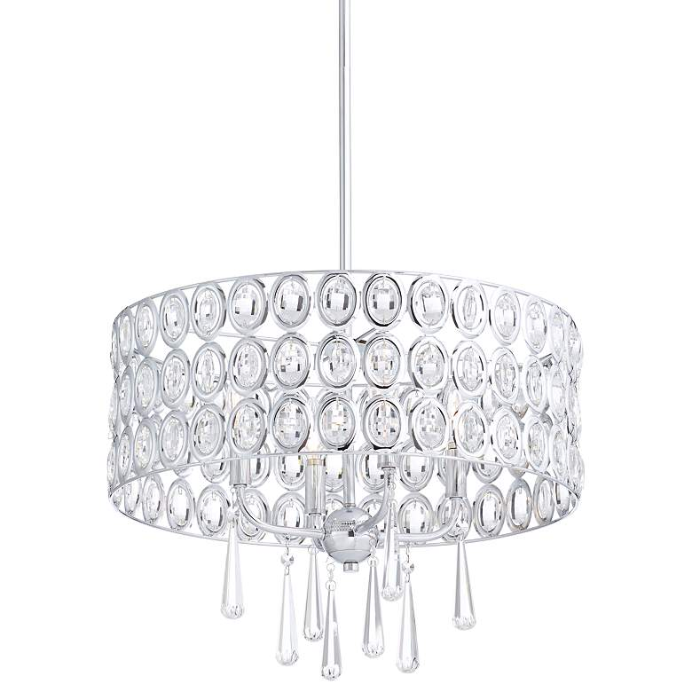 "Possini Euro Almyra 19"" Wide Chrome Crystal Pendant Light"