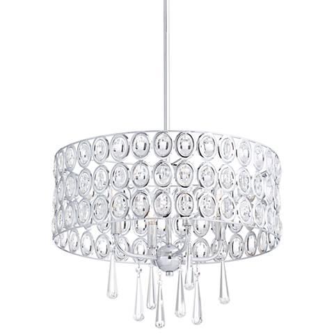 "Possini Euro Almyra 19"" Wide Chrome Crystal Pendant Light"