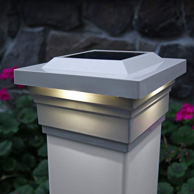 "Majestic 3 3/4"" High Tan Outdoor Solar LED Post Cap"