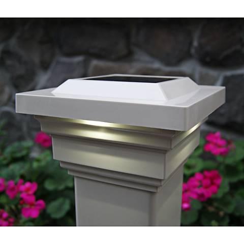 """Regal 3 3/4"""" High Tan Outdoor Solar LED Post Cap"""