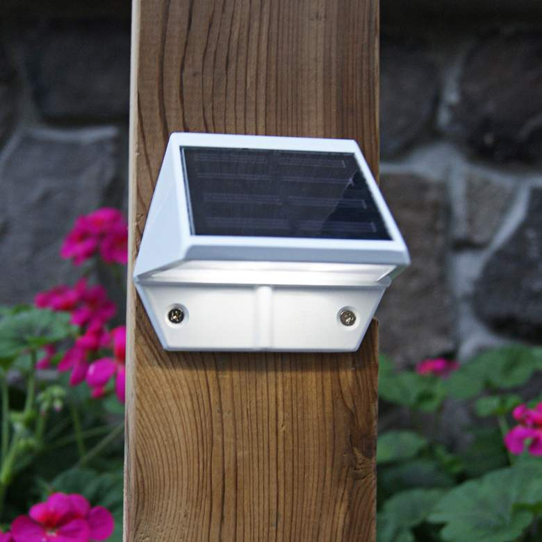 "Canarsie 3 1/2"" Wide White Outdoor Solar LED Deck Light"