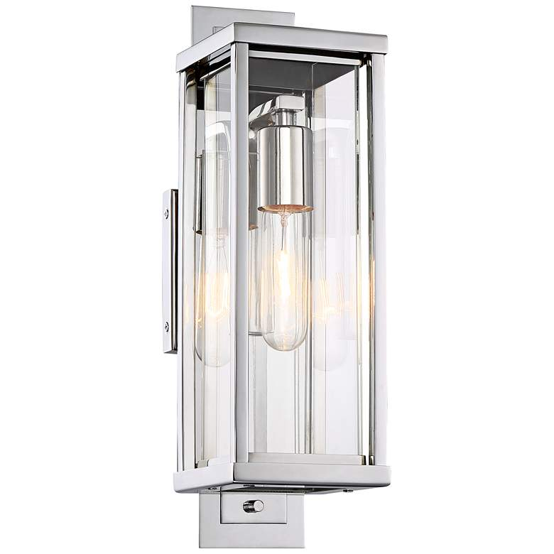 "Possini Euro Bixler 15""H Stainless Steel Outdoor Wall Light"
