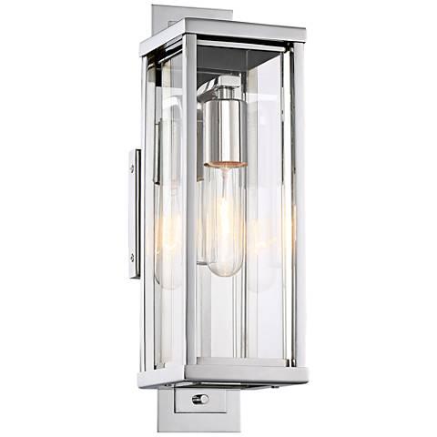 "Possini Euro Bixler 15""H Stainless Steel Outdoor Wall Light"