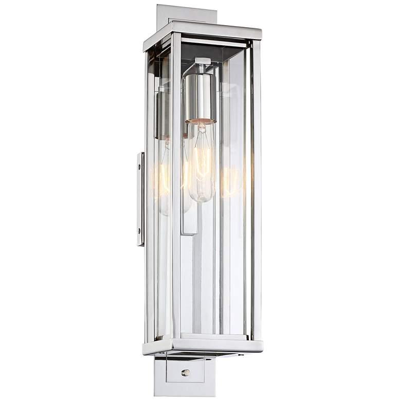 "Possini Euro Bixler 19""H Stainless Steel Outdoor Wall Light"