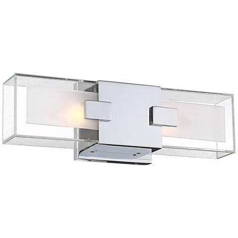 "Possini Euro Dane 16"" Wide Glass and Chrome Wall Light"