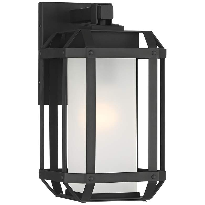 "Gavin 11 1/2"" High Black Geometric Caged Outdoor Wall Light"