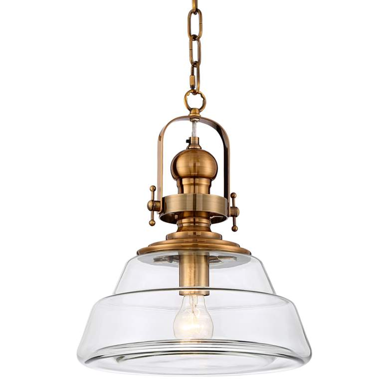 """Donovan 13"""" Wide Antique Brass and Clear Glass Pendant Light"""