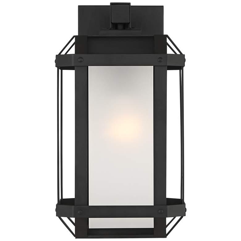 "Gavin 13 1/2"" High Black Geometric Caged Outdoor Wall Light"