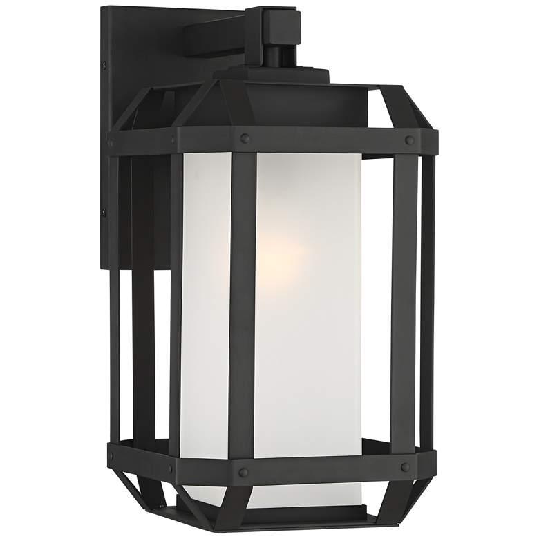 "Gavin 15 1/4"" High Black Geometric Caged Outdoor Wall Light"