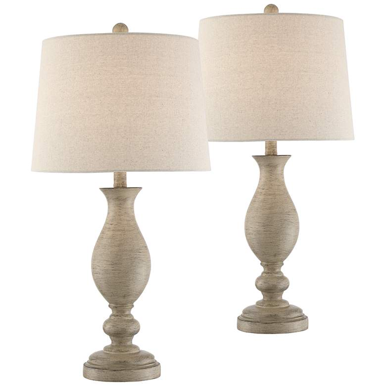 Serena Beige Gray Wood Finish Table Lamps Set of 2