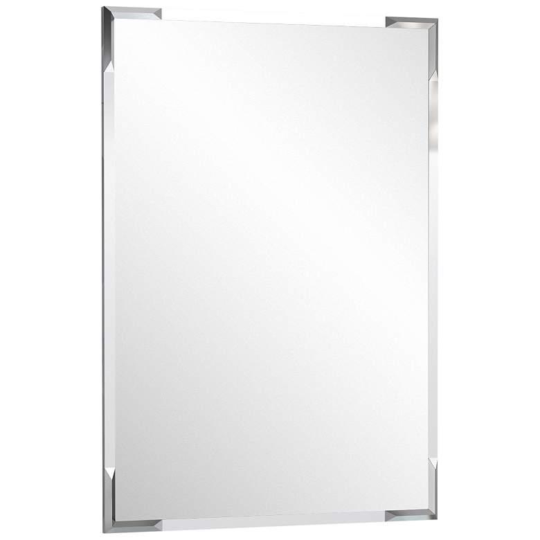 """Quebec Chrome 24 1/2"""" x 32 1/2"""" Flush Mount Wall Mirror"""