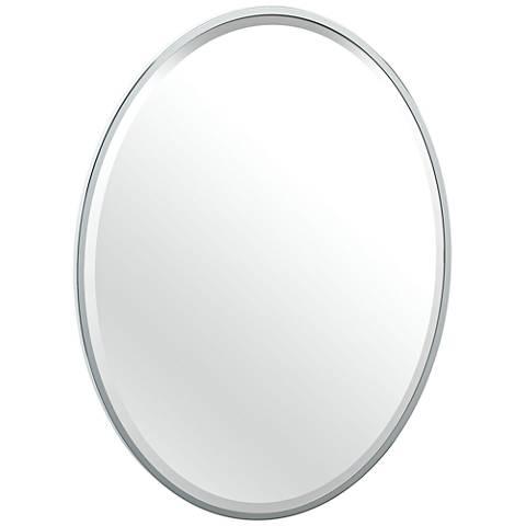 "Luxe Flush Mount Chrome 25"" x 33"" Framed Oval Mirror"