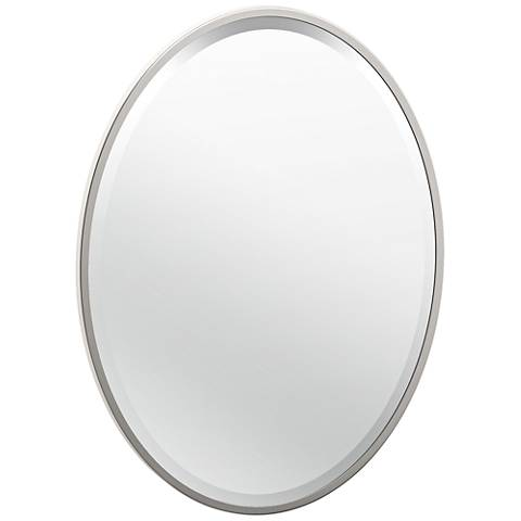 "Luxe Flush Mount Nickel 20 1/2"" x 27 1/2"" Framed Mirror"