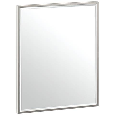 "Luxe Flush Mount Nickel 20 1/2"" x 25"" Framed Mirror"