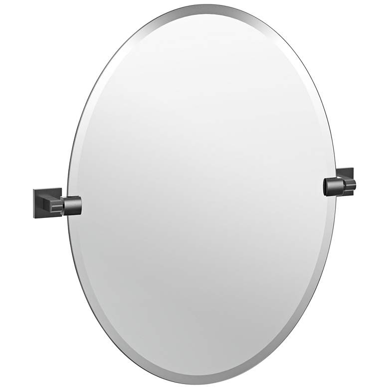 "Elevate Matte Black 24"" x 26 1/2"" Frameless Oval Wall Mirror"