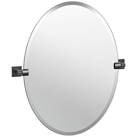 "Elevate Matte Black 24"" x 26 1/2"" Frameless Oval Mirror"