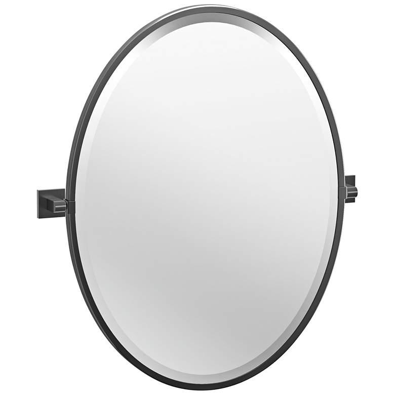 "Elevate Black 23 3/4"" x 27 1/2"" Oval Framed Wall Mirror"