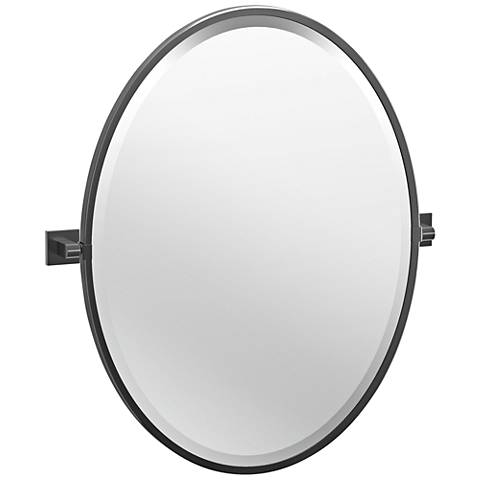 "Elevate Black 23 3/4"" x 27 1/2"" Framed Oval Wall Mirror"