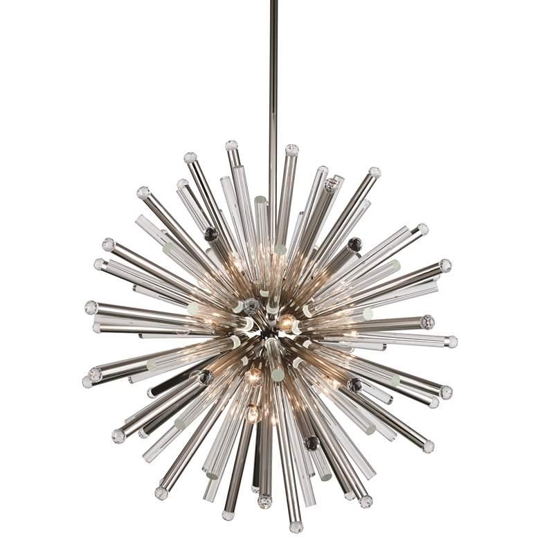 "Maxwell 36"" Wide Polished Nickel 21-Light Pendant"