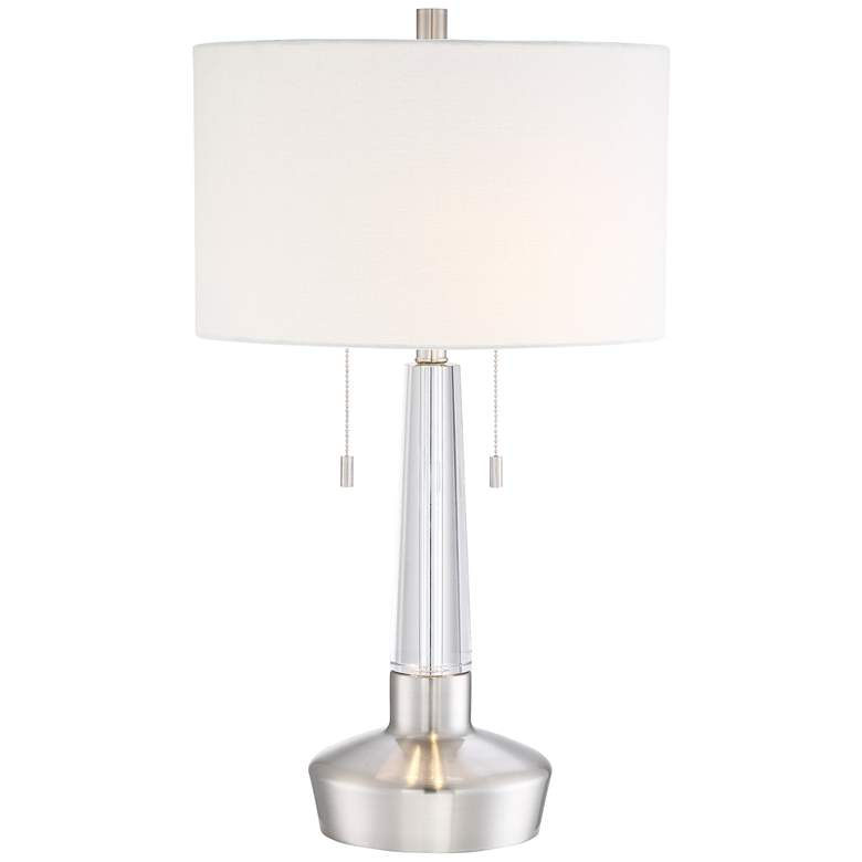 Maury Brushed Nickel and Crystal Table Lamp