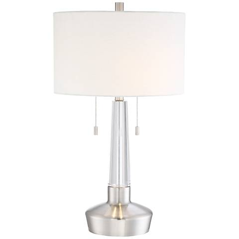 Maury Crystal Brushed Steel Table Lamp