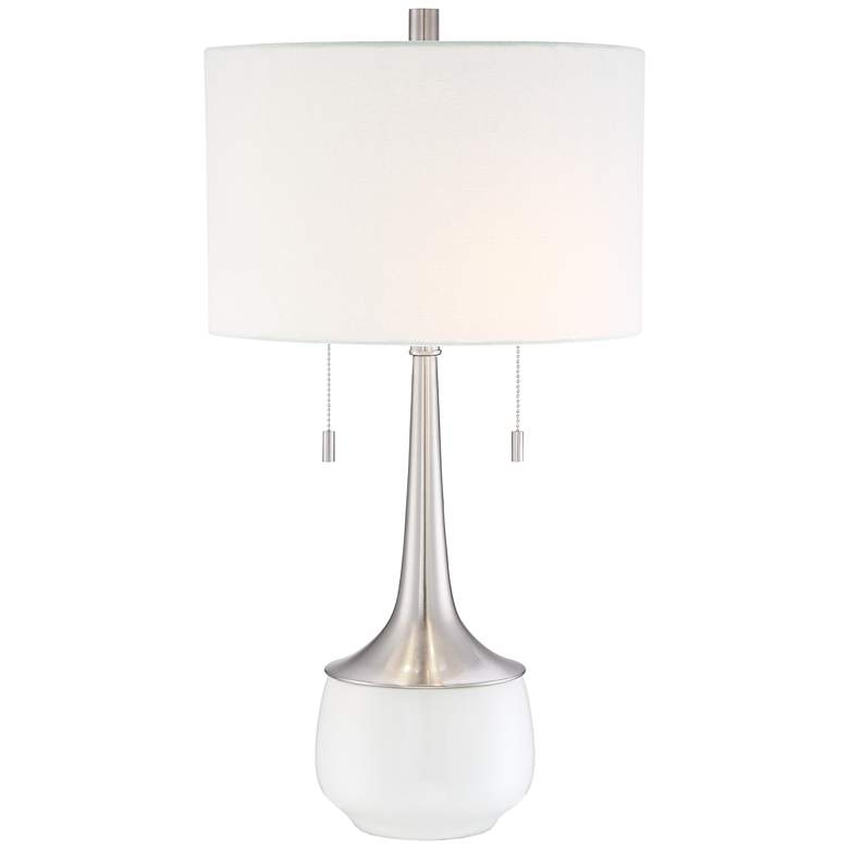 Wendy Ceramic and Brushed Nickel 2-Light Modern Table Lamp