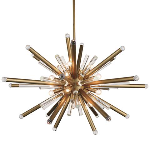"""Maxwell 38"""" Wide Burnished Brass 14-Light Pendant"""
