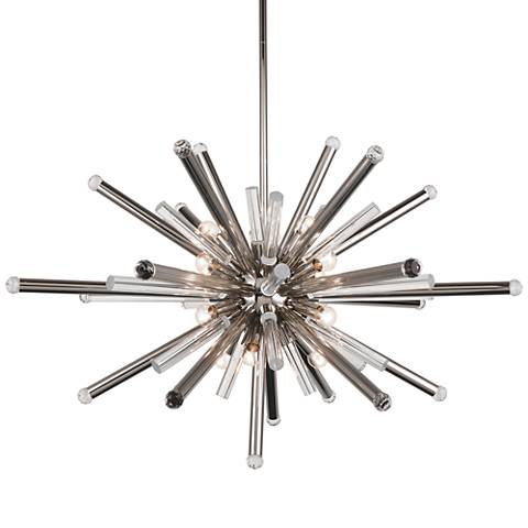 "Maxwell 38"" Wide Polished Nickel 14-Light Pendant"