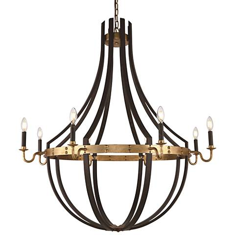 "Woodland 43""W Saddle Rust and Golden Iron 8-Light Chandelier"