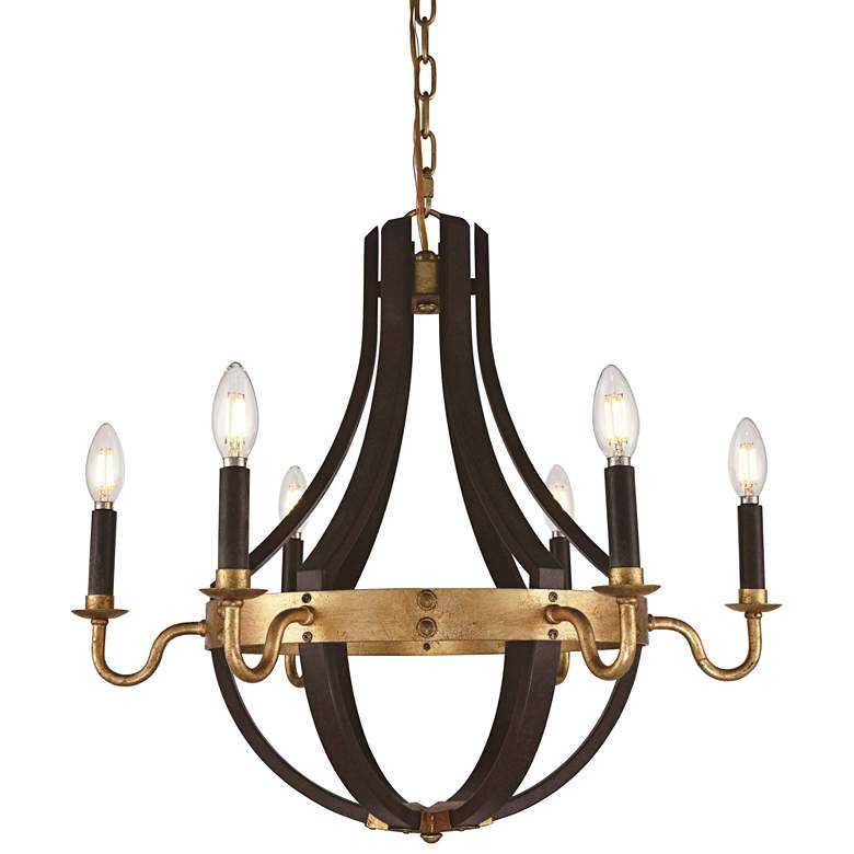 "Woodland 24""W Saddle Rust and Golden Iron 6-Light Chandelier"