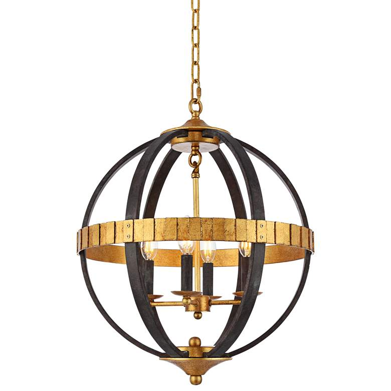 "Orbus 18""W Saddle Rust and Golden Iron 4-Light Pendant"