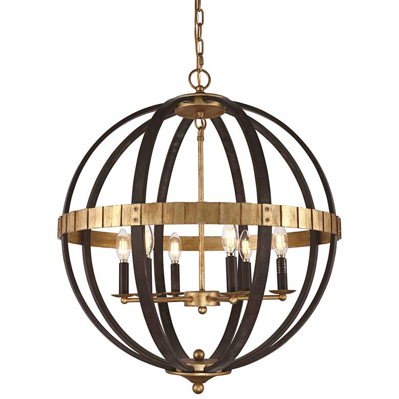 "Orbus 24""W Saddle Rust and Golden Iron 6-Light Orb Pendant"