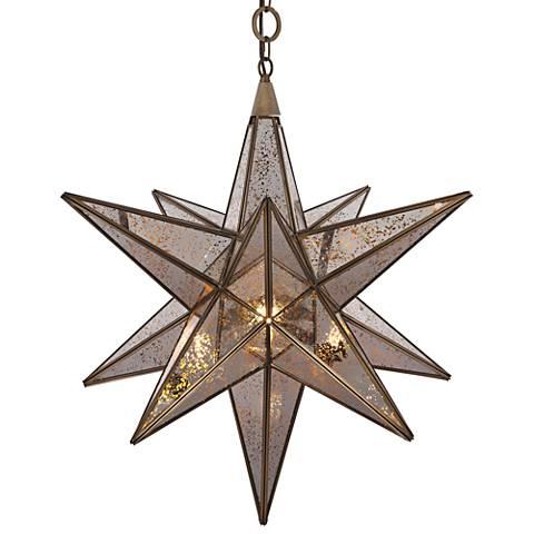 "Orion 26"" Wide Dark Antique Brass Pendant Light"