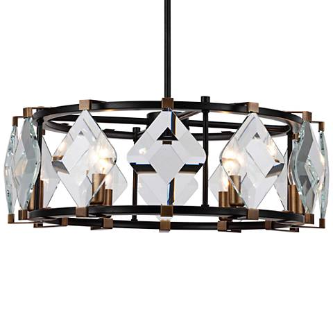 "Endicott 24""W Flat Black and Burnish Brass 6-Light Pendant"