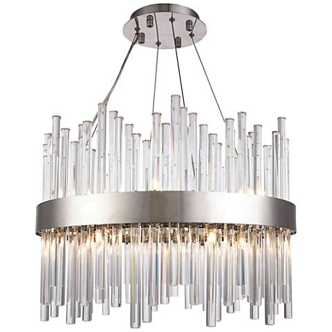 "Dallas 20"" Wide Chrome and Crystal Chandelier"