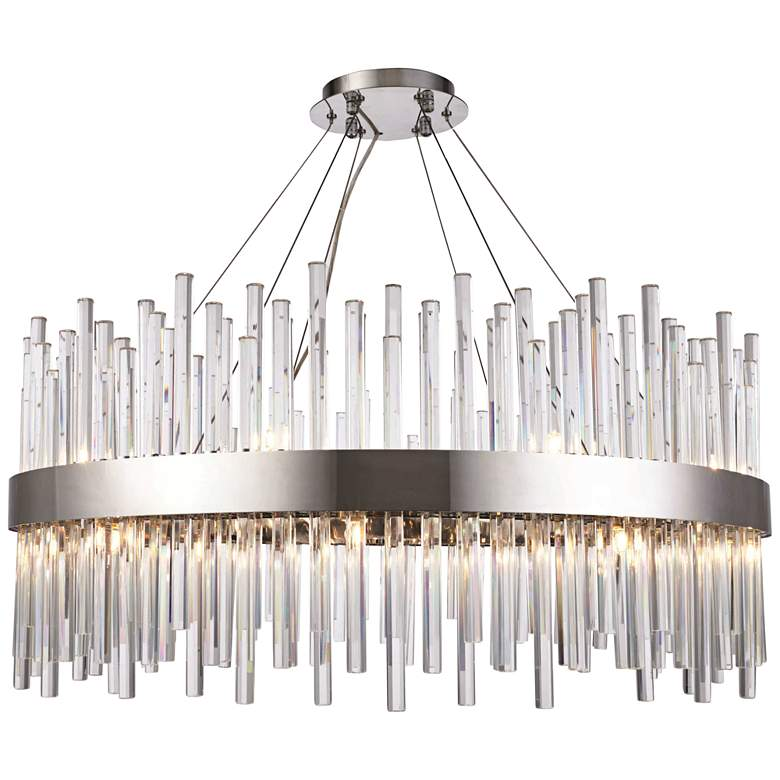 """Dallas 32"""" Wide Chrome and Crystal Modern Chandelier"""