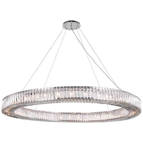 "Cuvette 63"" Wide Chrome and Crystal Pendant Light"