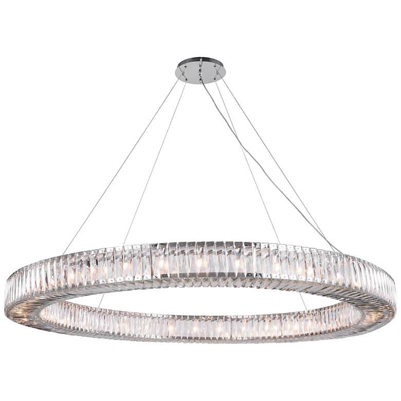 """Cuvette 63"""" Wide Chrome and Crystal Pendant Light"""